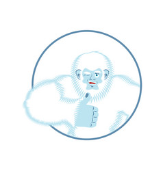 yeti thumbs up bigfoot winks emoji abominable vector image