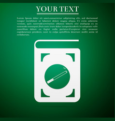 book icon with cigarette flat icon on green vector image vector image