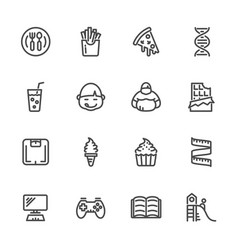 causes of childhood obesity line icons set vector image vector image
