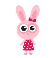 Cute pink bunny rabbit icon flat design vector image