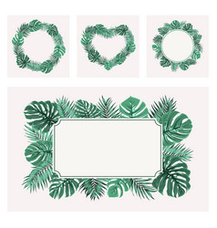 exotic tropical green leaves border frame template vector image vector image