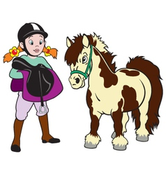 Girl with pony vector