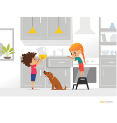 two kids cooking their own breakfast boy holding vector image