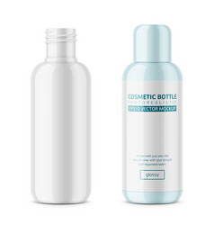 white glossy plastic cosmetic bottle template vector image