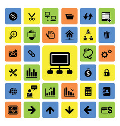 business and web icons set vector image vector image
