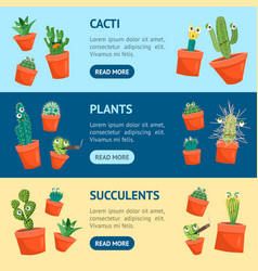 cartoon funny cactus characters banner horizontal vector image vector image