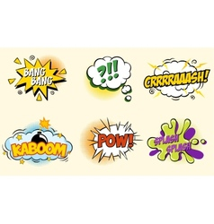 Comic speech bubbles in pop art style with bomb vector image vector image