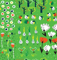 Funny garden seamless pattern in spring with vector image