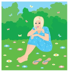 girl on a grass vector image vector image
