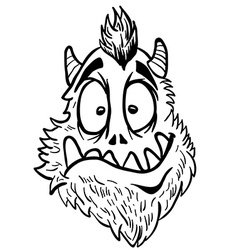 simple black and white funny looking monster vector image