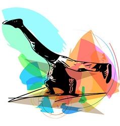 breakdancer performing a handstand vector image