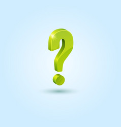 Green question mark isolated on blue background vector image vector image