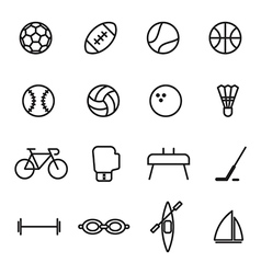 Set of sport line icons on white background vector image
