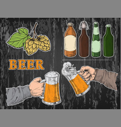 watercolor hands holding with beer glasses mug vector image