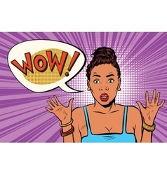 Wow surprised beautiful woman African American vector image vector image