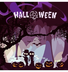 cartoon couple with pumpkins on Halloween night vector image vector image