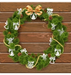 Christmas Wreath on Wooden Board 9 vector image