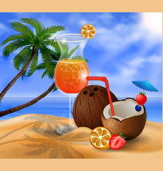 exotic coconut cocktail vector image