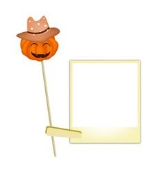 Halloween pumpkin in cowboy hat with blank photos vector
