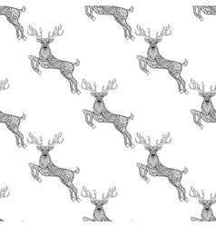 Magic horned deer seamless pattern in zentangle vector image