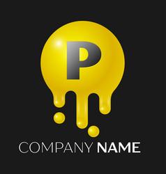 p letter splash logo yellow dots and bubbles vector image