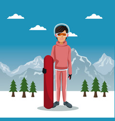 winter mountain landscape poster with skiere woman vector image vector image