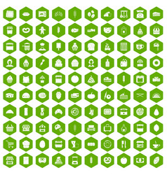 100 bakery icons hexagon green vector