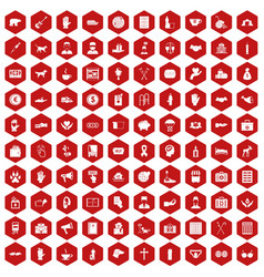 100 donation icons hexagon red vector