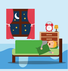 a little boy sleeps in the night vector image