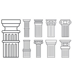 ancient column icon set outline style vector image