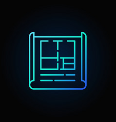 apartment plan blue outline icon vector image