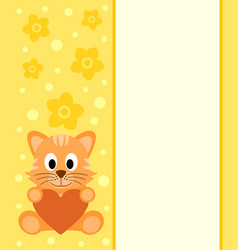 Background with cartoon cat vector