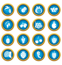berries icons blue circle set vector image
