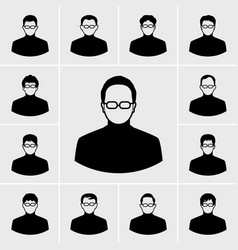 black man icons set vector image