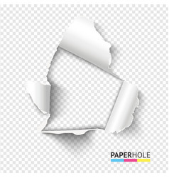 Blank realistic tear paper hole with rip edges on vector