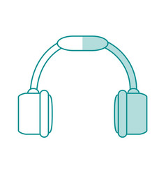 Blue shading silhouette of headset stereo sound vector
