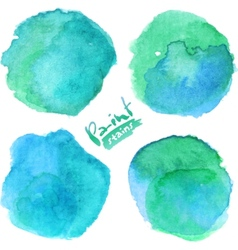 Bright blue watercolor painted stains set vector