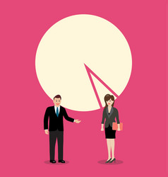 Businessman and woman discussion with pie chart vector