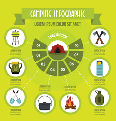 Camping infographic concept flat style vector