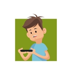 cartoon boy playing video game with smartphone vector image