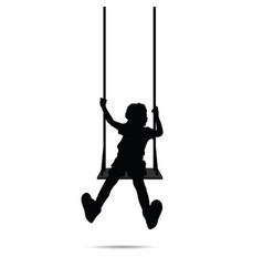 child happy silhouette on swing two vector image