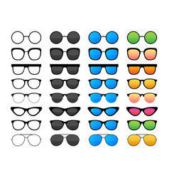 colored sunglass frame set isolated on white vector image
