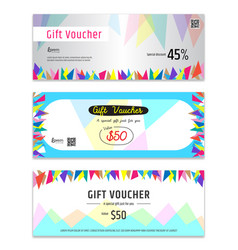 Colorful gift certificate voucher gift card or vector
