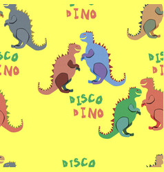 colourful disco dinosaurs on the yellow background vector image