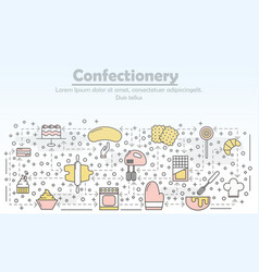 Confectionery advertising flat line art vector