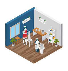 creative robot isometric composition vector image