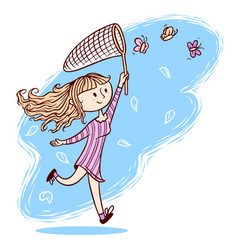 Cute girl want to catch butterflies vector