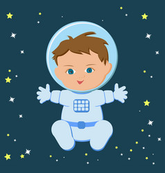 Cute sitting baby boy astronaut in a spacecuit and vector