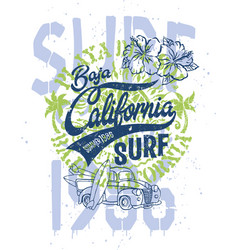 cute surfer pick up baja california vector image