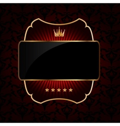 Decorative ornate golden frame on dark background vector